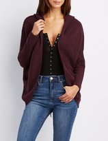 Charlotte Russe Plus Size Hooded Lace-Up Cocoon Cardigan