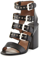 Laurence Dacade Kloe Leather Buckle Cage Sandal, Black