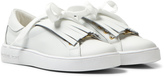 Michael Kors White Zia Ivy Kiltie Leather Fringe Trainers