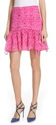 Tanya Taylor Abby Pintuck Silk Chiffon Mini Skirt