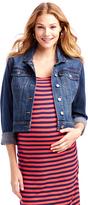 Motherhood Jessica Simpson Button Front Plain Weave Denim Maternity Jacket