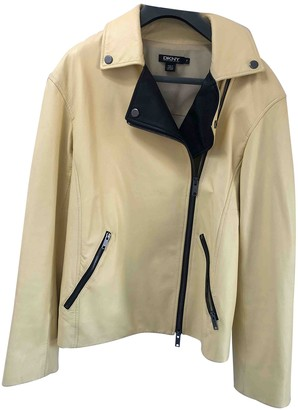 DKNY Grey Leather Leather Jacket for Women