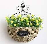 Artificial Flower SituMi Situmi Artificial Fake Flowers Wall Mount Flower Bouquet Of Weaving Plant Yellow Home Accessories