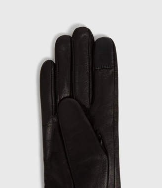 AllSaints Zipper Leather Touch Gloves
