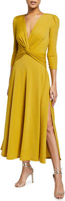 Callie Twisted Front Knot Shimmer Midi Dress