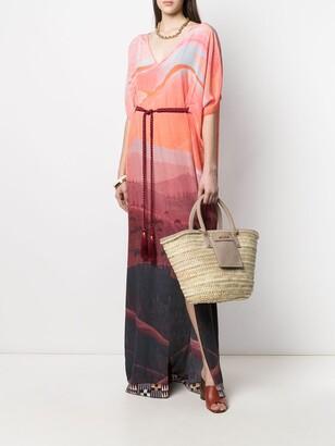 Landscape Print Kaftan Dress