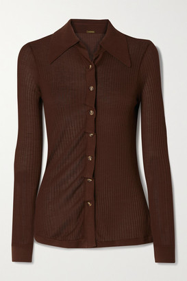 Dodo Bar Or Paya Ruched Ribbed Silk Cardigan - Dark brown