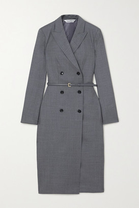 Max Mara Belted Wool-blend Dress - Gray