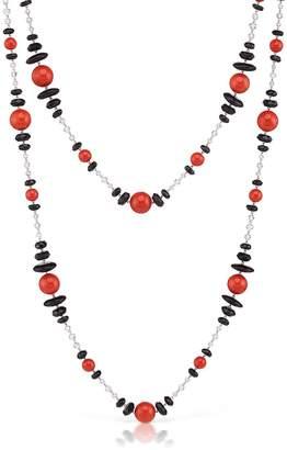 Assael Extra-Long Sardinian Coral, Onyx, Diamond Briolette Chain Necklace