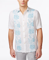 Tasso Elba Men's Linen Pintucked Floral Linen Blend Short-Sleeve Shirt