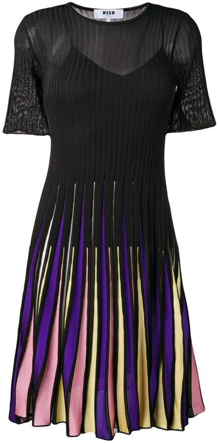 MSGM ribbed knit pleated skirt dress