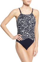 Magicsuit Lisa Draped-Front Underwire One-Piece Swimsuit, Navy