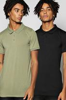 Boohoo Muscle Fit Polo 2 Pack In Black And Khaki