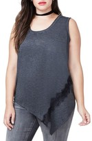 Rachel Roy Plus Size Women's Lace Trim Asymmetrical Tank