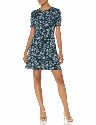 Lark & Ro Women's Puff Sleeve Crew Neck Fit and Flare Dress