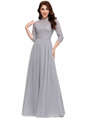 Ever Pretty Ever-Pretty Women's 3/4 Sleeves Impressive A Line Chiffon Ball Evening Gowns Grey 12UK