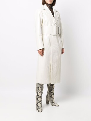 MSGM Crinkled-Finish Faux-Leather Trench Coat