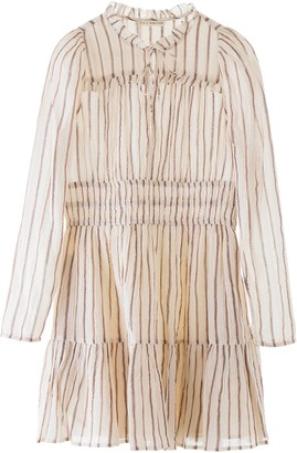 Ulla Johnson ROSALIND STRIPED DRESS 2 Beige, Brown, Metallic Cotton