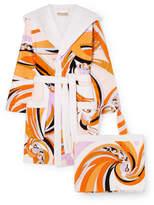 Emilio Pucci Hooded Printed Cotton-terry Robe - Orange
