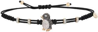Pippo Perez Pull-Cord Bracelet with Black & White Diamond Penguin in 18K Gold