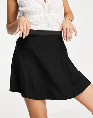 ASOS DESIGN elasticated waist flippy mini skirt in black