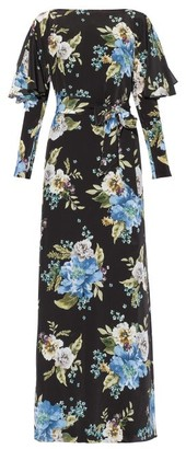 Erdem Jude Carnation-print Silk Maxi Dress - Black Print