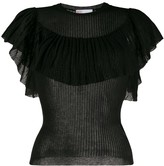 RED Valentino ruffle detail sheer T-shirt