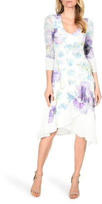 Komarov Floral Print Charmeuse Tiered Dress