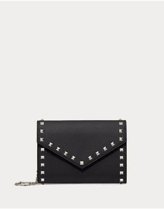 Valentino Garavani Rockstud Grainy Calfskin Wallet With Chain Strap