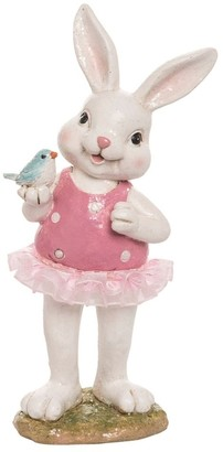 Transpac Resin 9 in. White Easter Bunny in Tutu Figurine