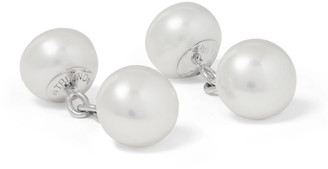 Trianon - White Gold Pearl Cufflinks - Men - Silver