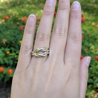 Twobirch Solid Two-Tone Sterling Silver and 18k Yellow Gold Plated Wedding Ring Celtic Love Knot Promise Ring Love Knott Ring