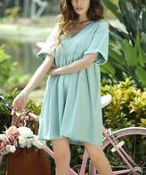 Z Avenue Women's Casual Dresses Mint - Mint & Pink Pinstripe French Terry Shift Dress - Women & Plus