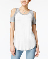 Ultra Flirt Juniors' Cold-Shoulder Baseball T-Shirt