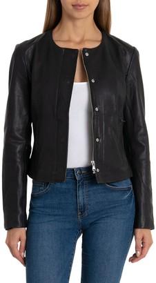 Badgley Mischka Collarless Zip Front Lamb Leather Jacket