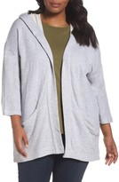Eileen Fisher Plus Size Women's Organic Cotton Knit Hooded Jacket