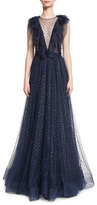 Jenny Packham Sleeveless Illusion V-Neck Ruffled Gown, Abyss Blue