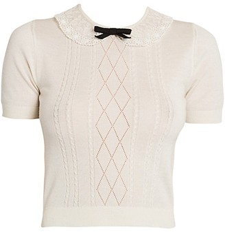 Miu Miu Short-Sleeve Wool-Blend Collared Knit Tee