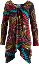 Aller Simplement Teal & Red Geo Circle Tie-Neck Sidetail Tunic