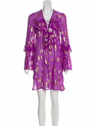 Dundas Silk Ruffle-Trimmed Dress w/ Tags Purple