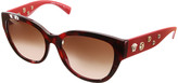 Versace Sunglasses RED - Red Tortoise Embellished-Arm Cat-Eye Sunglasses