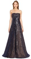 Rene Ruiz Linear Sequin Strapless Gown.