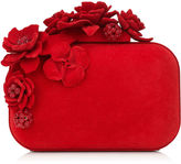 Jimmy Choo CLOUD Red Flocked Metal Clutch Bag with Flocked and Crystal Flowers