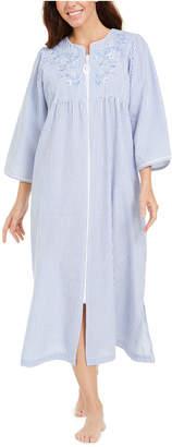 Miss Elaine Striped Seersucker Long Zipper Robe