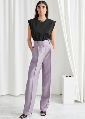 And other stories Wide Tailored Linen Blend Trousers