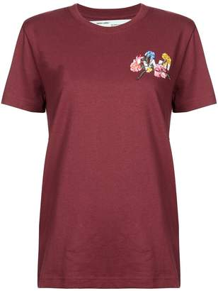 Off-White Off White floral embroidered t-shirt burgundy