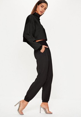 Missguided Black Oversized Ribbed Joggers