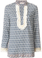 Tory Burch fringed detail patterned tunic - women - Cotton - 4