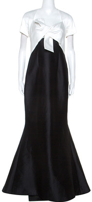Carolina Herrera Ivory and Black Silk Blend Panel Flared Gown M