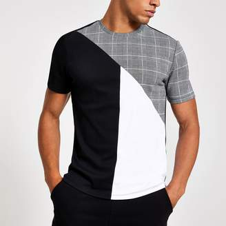 River Island Mens Grey check slim fit crew neck T-shirt